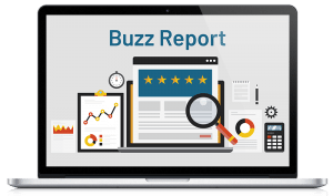 """a computer screen showing websites, a magnifying glass and a calculator with text over the image that says """"Buzz Report"""""""