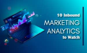 "a computer against a blue background with text overlaid that says ""10 Inbound Marketing Analytics to Watch"""
