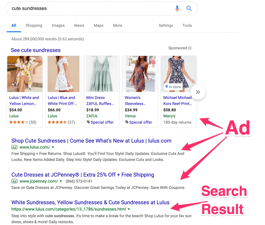 google search results for cute sundresses