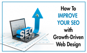 "image of an arrow pointing up out of a computer with text overlaid that says ""How to Improve Your SEO with Growth-Driven Web Design"""