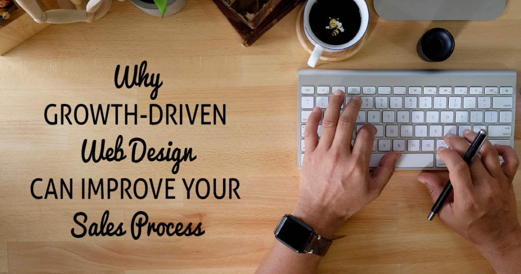 "image of hands typing on computer with text overlaid that says ""Why Growth-Driven Web Design Can Improve Your Sales Process"""