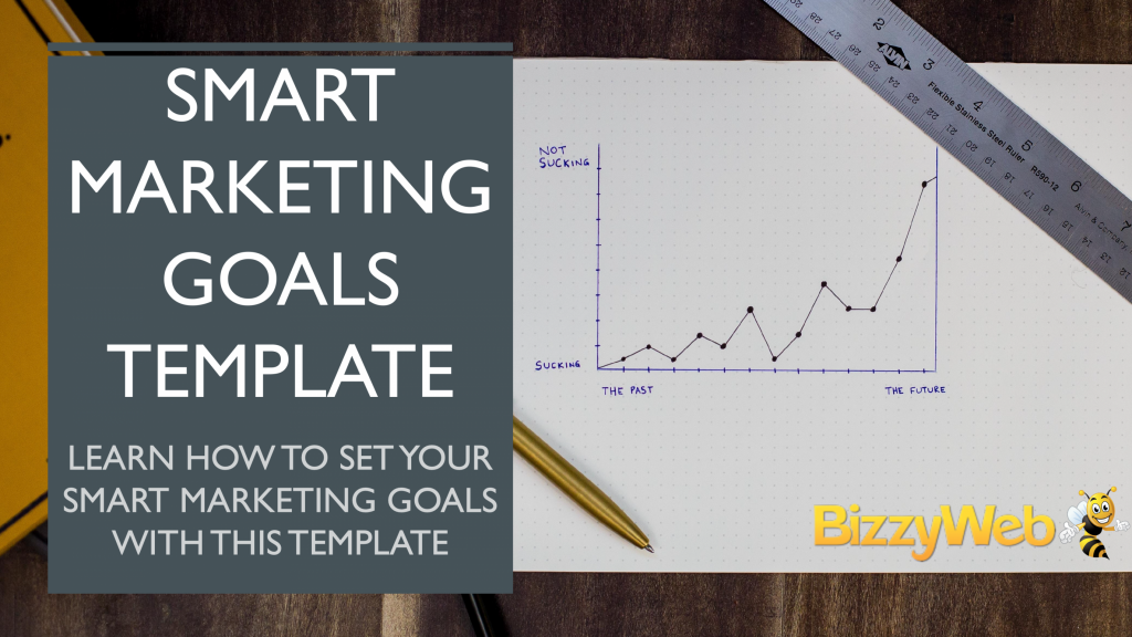 """an illustrated graph: the y axis ranges from """"sucking"""" to """"not sucking"""" and the x-axis ranges from """"the past"""" to the """"future."""" Overlaid is text that says """"SMART Marketing Goals Template: Learn how to set your SMART marketing goals with this template"""""""