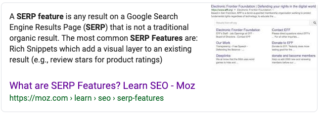 image showing the featured snippets search results in Google