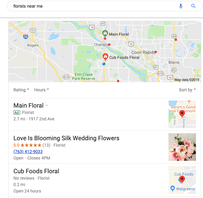 image showing the location pack search results in Google