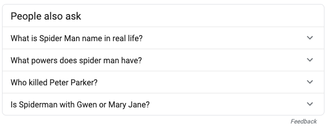 image showing the related questions search results in Google
