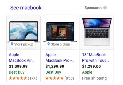 image showing the shopping search results in Google