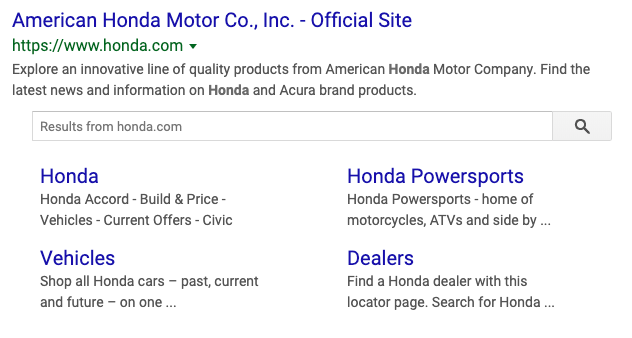 image showing the site link search results in Google