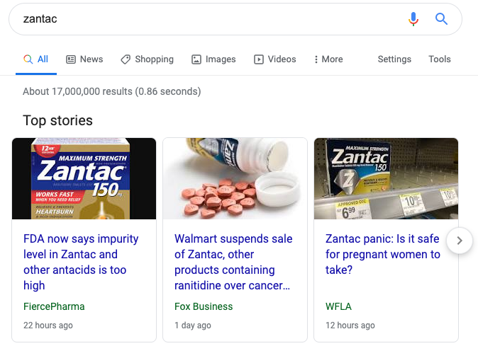 image showing the top stories search results in Google