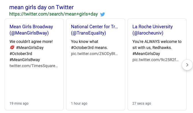 image showing the twitter search results in Google