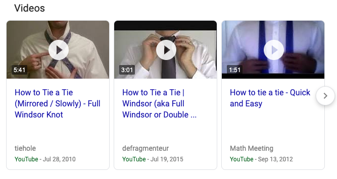 image showing the video search results in Google
