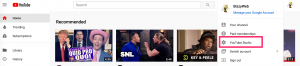 """Step 1: On YouTube, click on your user icon in the upper right. Click on """"YouTube Studio"""" from the menu that appears."""