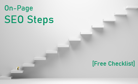 "white stairs with text overlaid that says ""On-Page SEO Steps [Free Checklist]"""