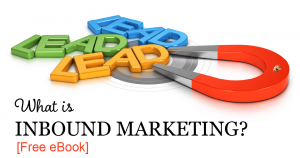 "magnet attracting smaller magnets that spell out ""lead."" overlaid is text that says ""what is inbound marketing? [free ebook]"""