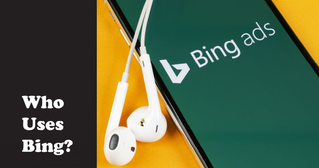 """closeup of a phone on the bing homepage, with text overlaid that says """"who uses bing?"""""""