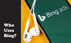 "closeup of a phone on the bing homepage, with text overlaid that says ""who uses bing?"""