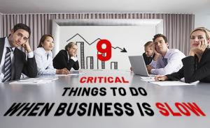 "bored office workers in a board room with text overlaid that says ""9 Critical Things To Do When Business is Slow"""