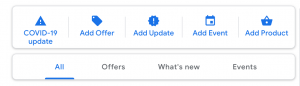 screenshot of google my business' posting screen, showing the COVID-19 updates post option