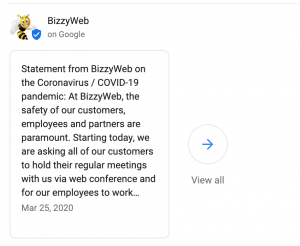 screenshot showing a COVID-19 post on Google My Business