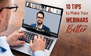 "a person watching a video on a laptop with text overlaid that says: ""10 Tips to Make Your Webinars Better"""