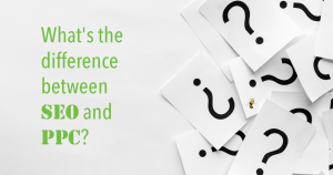 """a pile of paper with question marks on them. text overlaid reads """"What's the difference between SEO and PPC?"""""""
