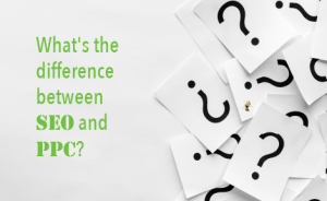 "a pile of paper with question marks on them. text overlaid reads ""What's the difference between SEO and PPC?"""