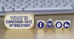 "a group of blocks that spell out the words ""What is Conversion Rate Optimization?"""