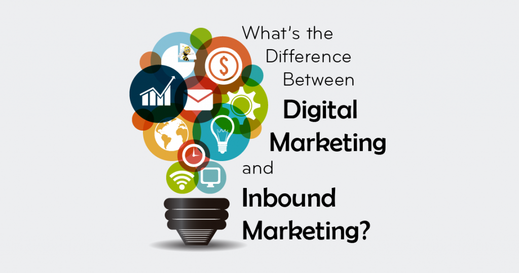 "various colored icons of a computer, email , gear, pie chart, globe and money. Text overlaid says ""What's the Difference Between Digital Marketing and Inbound Marketing?"""