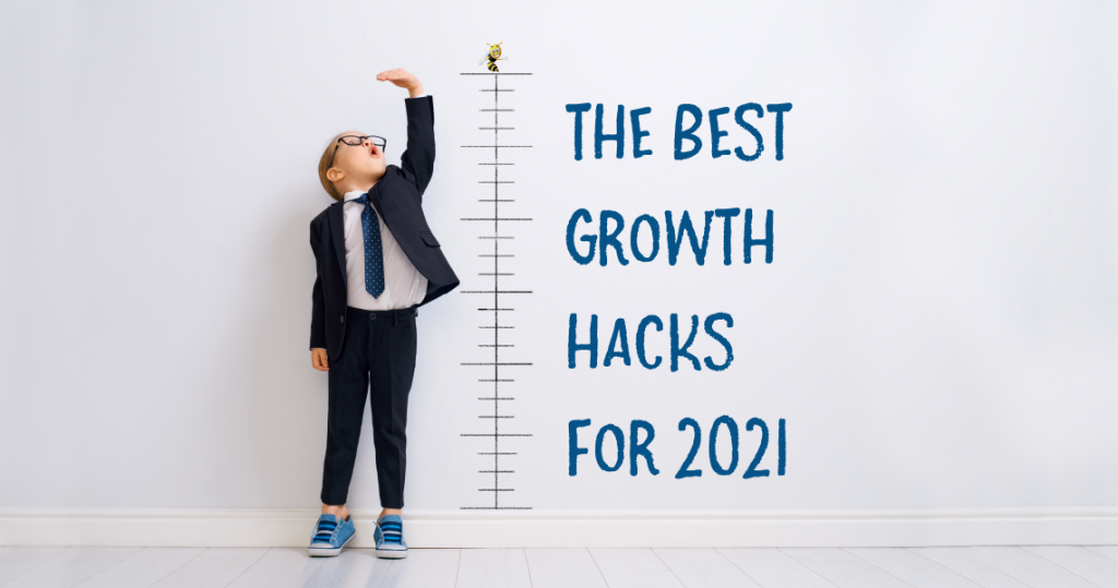"""a child standing next to a height chart with text overlaid that says """"the best growth hacks for 2021"""""""