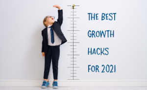 "a child standing next to a height chart with text overlaid that says ""the best growth hacks for 2021"""
